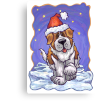 St. Bernard Christmas Canvas Print