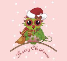 Cute Owl with Santa Hat Xmas Tee One Piece - Short Sleeve