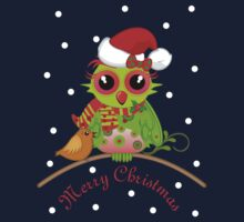 Cute Owl with Santa Hat Xmas Tee Kids Tee