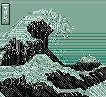 Katsushika Hokusai Electronic Circuit Board by Garabating