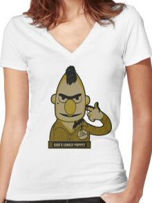 God's Lonely Puppet Women's Fitted V-Neck T-Shirt