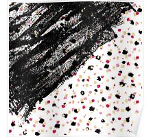 Pink, Black, & Faux Gold Paint Dots & Brushstrokes Poster