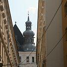 A church seen between the buildings, Vienna by Ilan Cohen