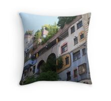 Building by Hundertwasser from the right side, Vienna Throw Pillow