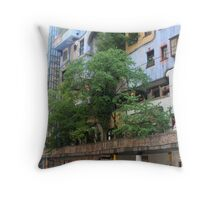 Building by Hundertwasser from the right side with the tree, Vienna Throw Pillow