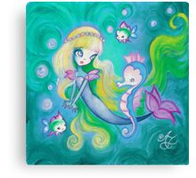 The Mermaid's Sea Horse Canvas Print