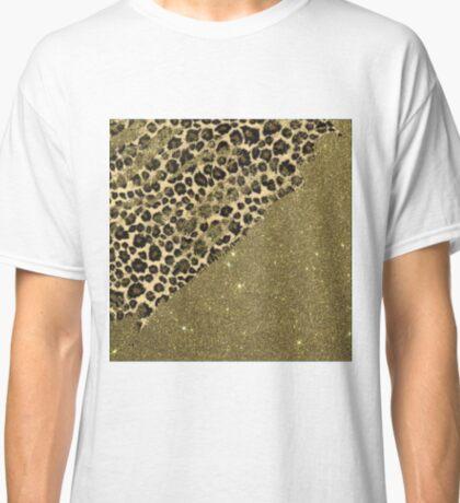 Classic Leopard Print Brushstrokes on Faux Gold Glitter Classic T-Shirt