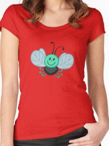 Funny cartoon green fly gadfly Women's Fitted Scoop T-Shirt