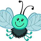 Funny cartoon green fly gadfly by Sandytov