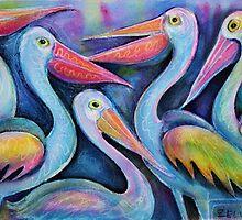 Five Pelicans chatting by Karin Zeller