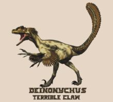 "Deinonychus ""terrible claw"" T_shirt by Walter Colvin"