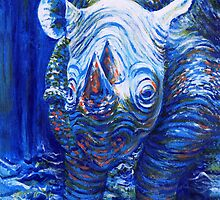 Acrylic painting, Blue Rhino endangered animal art by Marion Yeo