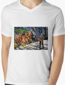Graffiti Cyclist Mens V-Neck T-Shirt