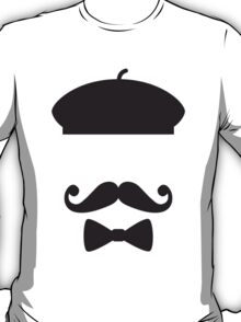 Face with french hat, mustache and tie T-Shirt