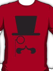 Face with hat, mustache and single eyeglass T-Shirt