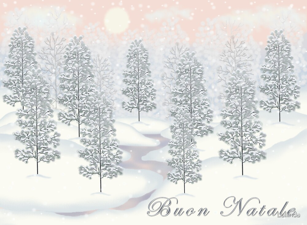Snowy Day Winter Scene - Buon Natale Christmas Card by Lallinda