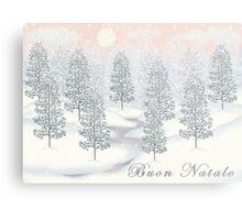 Snowy Day Winter Scene - Buon Natale Christmas Card Metal Print