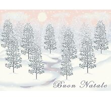 Snowy Day Winter Scene - Buon Natale Christmas Card Photographic Print