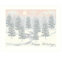 Snowy Day Winter Scene - Happy Holidays Christmas Card Art Print