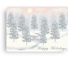 Snowy Day Winter Scene - Happy Holidays Christmas Card Canvas Print
