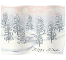 Snowy Day Winter Scene - Happy Holidays Christmas Card Poster