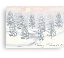 Snowy Day Winter Scene - Feliz Navidad Christmas Card Metal Print