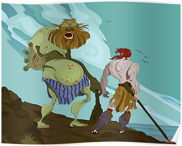 Cyclops and Odysseus by looselinedesign