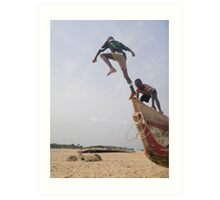 Ghana boys jumping off boat2 Art Print