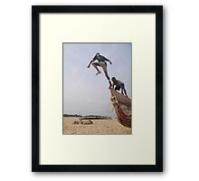 Ghana boys jumping off boat2 Framed Print