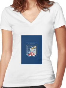 Patriots Day Greeting Card American Patriot Holding Up Torch Flag Women's Fitted V-Neck T-Shirt