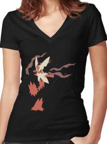 Mega Blaziken Women's Fitted V-Neck T-Shirt
