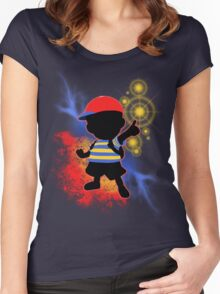 Super Smash Bros. Ness Silhouette Women's Fitted Scoop T-Shirt