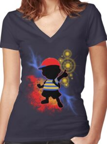 Super Smash Bros. Ness Silhouette Women's Fitted V-Neck T-Shirt