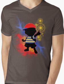 Super Smash Bros. Ness Silhouette Mens V-Neck T-Shirt