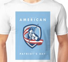 Patriots Day Greeting Card American Patriot Soldier Waving Flag Shield Unisex T-Shirt