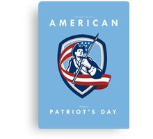 Patriots Day Greeting Card American Patriot Soldier Waving Flag Shield Canvas Print
