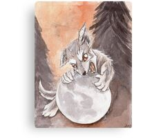 Werewolf Puppy Watercolor Painting Canvas Print