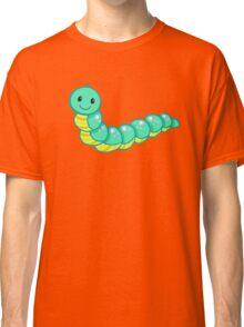 Cute cartoon caterpillar turquoise Classic T-Shirt