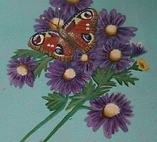 European Peacock Butterfly and Michaelmas Daisies by SoaringSpirit
