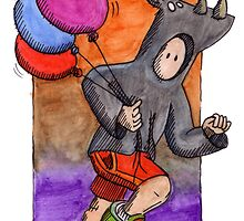 KMAY Hoodkid Rhino with Balloons by Katherine May