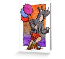 KMAY Hoodkid Rhino with Balloons Greeting Card