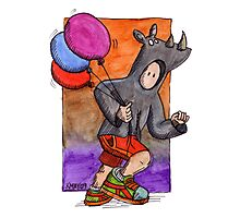 KMAY Hoodkid Rhino with Balloons Photographic Print