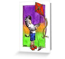 KMAY Hoodkid Zebra flying a Kite Greeting Card