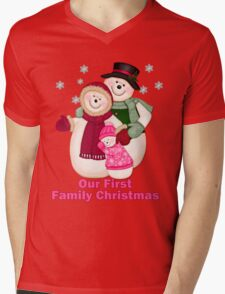 Snowman Snow Family First Christmas - Pink T-Shirt