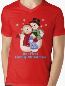 Snowman Snow Family First Christmas - Blue T-Shirt