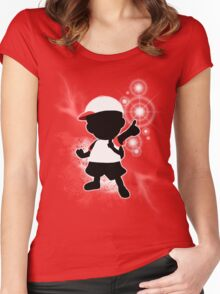Super Smash Bros. White Ness Silhouette Women's Fitted Scoop T-Shirt