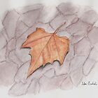 Golden Brown Autumn Leaf on Lilac Pavement  by ibadishi