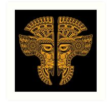 Yellow and Black Aztec Twins Mask Illusion Art Print