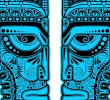 Blue and Black Aztec Twins Mask Illusion Sticker