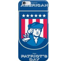 Patriots Day Greeting Card American Patriot Bust Shield iPhone Case/Skin